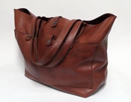 XXL Shopper Tote Style Tasche im Vintage Stil cognac -