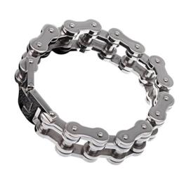 YSM Edelstahl-Armband, 22mm Breite, 228mm Armreif, maskulines 316L Edelstahl, Fahrradketten-Armband für Damen und Herren -