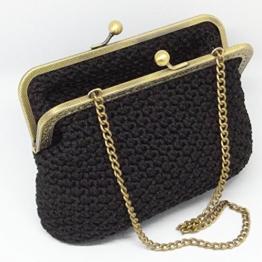 ZOE - Handmade in Italy - Handtasche elegant. Schwarz. Evening black clutch purse with golden vintage kiss clasp. -